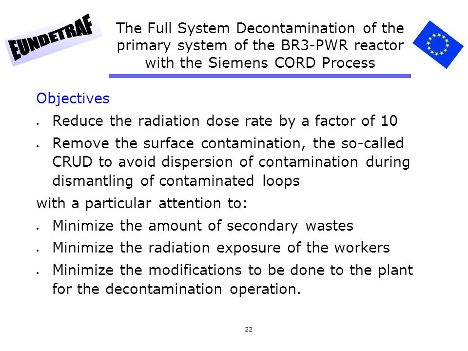 22 The Full System Decontamination of the primary system of the BR3-PWR reactor with the Siemens CORD Process Objectives Reduce the radiation dose rat