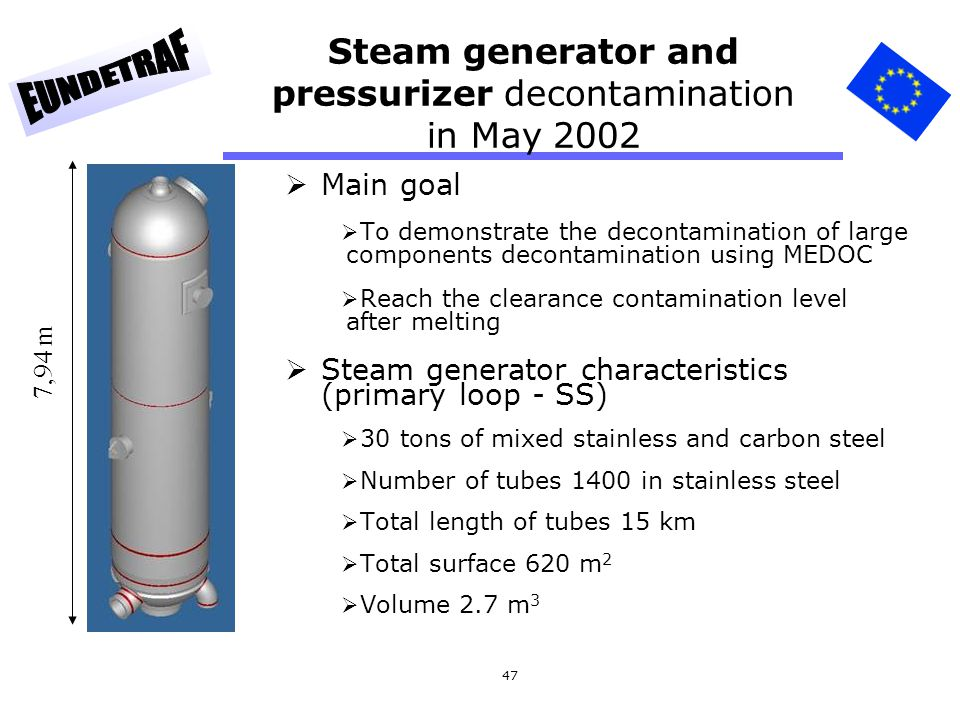 47 Steam generator and pressurizer decontamination in May 2002  Main goal  To demonstrate the decontamination of large components decontamination us