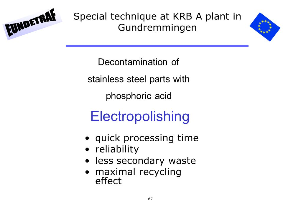 67 Special technique at KRB A plant in Gundremmingen Decontamination of stainless steel parts with phosphoric acid quick processing time reliability l