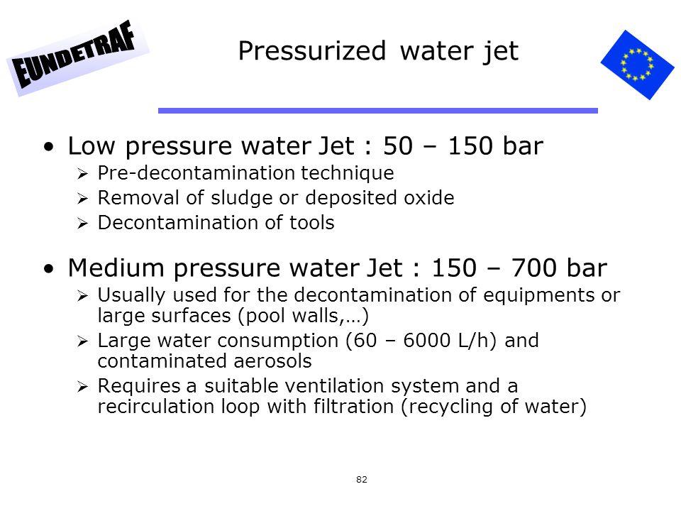 82 Pressurized water jet Low pressure water Jet : 50 – 150 bar  Pre-decontamination technique  Removal of sludge or deposited oxide  Decontaminatio