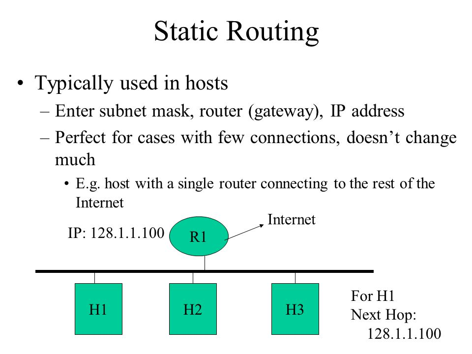 Static Routing Typically used in hosts –Enter subnet mask, router (gateway), IP address –Perfect for cases with few connections, doesn't change much E