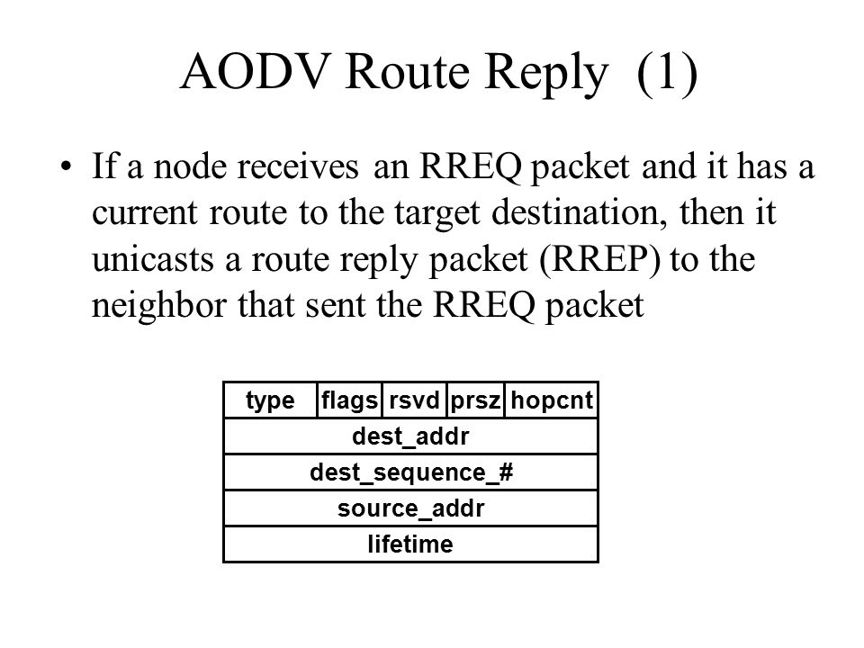 AODV Route Reply (1) If a node receives an RREQ packet and it has a current route to the target destination, then it unicasts a route reply packet (RR