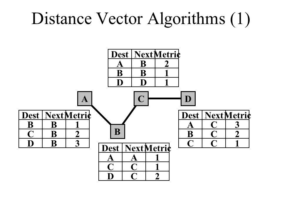 Distance Vector Algorithms (1) A B CD B DestNextMetric B1 CB2 DB3 A DestNextMetric A1 CC1 DC2 A DestNextMetric B2 BB1 DD1 A DestNextMetric C3 BC2 CC1