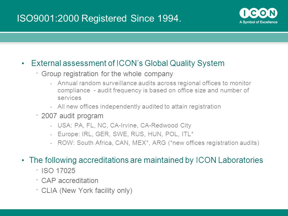 24 ISO9001:2000 Registered Since 1994. External assessment of ICON's Global Quality System ¯ Group registration for the whole company Annual random su