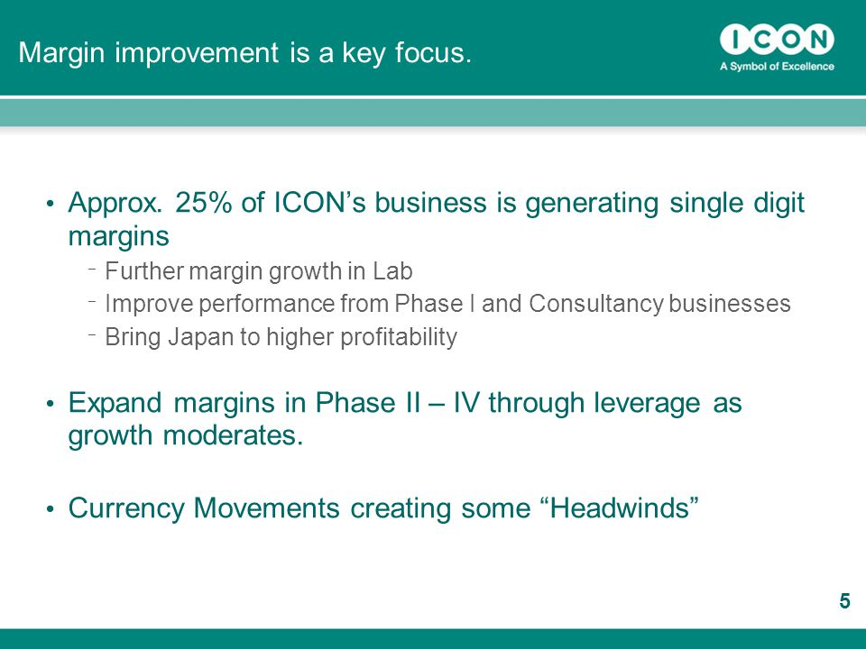 37 Approx. 25% of ICON's business is generating single digit margins ¯ Further margin growth in Lab ¯ Improve performance from Phase I and Consultancy