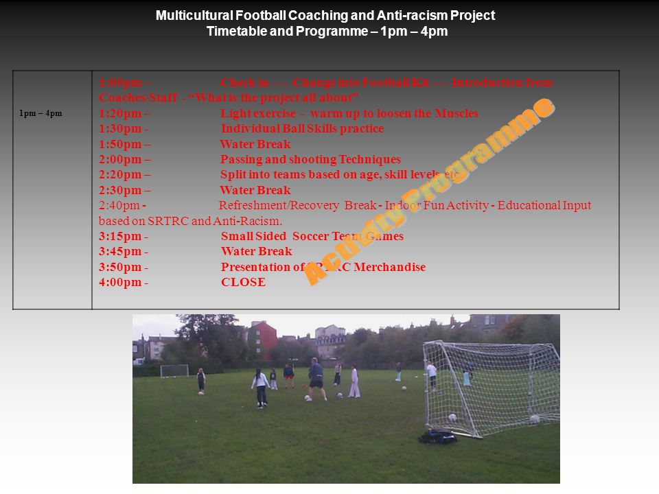 Tuesday 18 th October 2006 1pm – 4pm On arrival each participant was registered and introduced to the football coaches and staff, then following a quick presentation of 'what the project was all about' Football Coaching was facilitated on the football parks adjacent to the school.