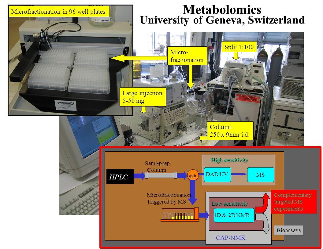 Metabolomics University of Geneva, Switzerland Microfractionation in 96 well plates Micro- fractionation Column 250 x 9mm i.d. CAP-NMR Low sensitivity