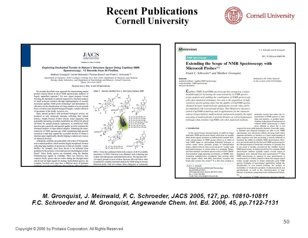 Recent Publications Cornell University M. Gronquist, J. Meinwald, F. C. Schroeder, JACS 2005, 127, pp. 10810-10811 F.C. Schroeder and M. Gronquist, An