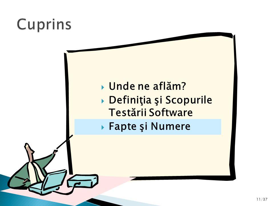 11/37  Unde ne aflăm  Definiţia şi Scopurile Testării Software  Fapte şi Numere