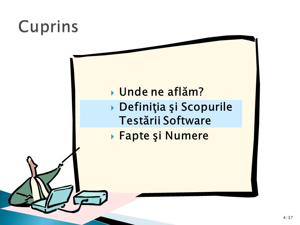 4/37  Unde ne aflăm  Definiţia şi Scopurile Testării Software  Fapte şi Numere