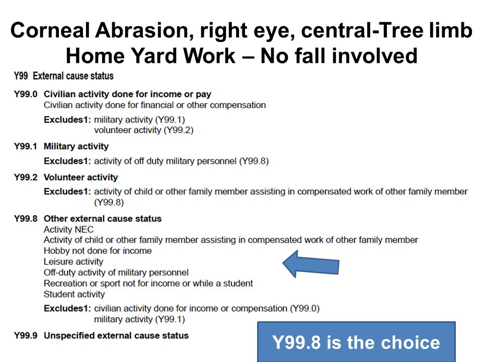Corneal Abrasion, right eye, central-Tree limb Home Yard Work – No fall involved Y99.8 is the choice
