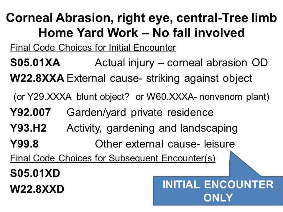 Final Code Choices for Initial Encounter S05.01XA Actual injury – corneal abrasion OD W22.8XXAExternal cause- striking against object (or Y29.XXXA blu