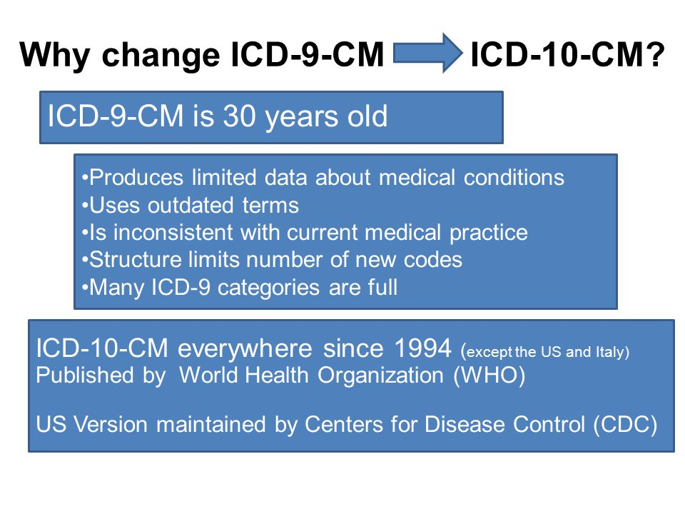 Why change ICD-9-CM ICD-10-CM? ICD-9-CM is 30 years old Produces limited data about medical conditions Uses outdated terms Is inconsistent with curren