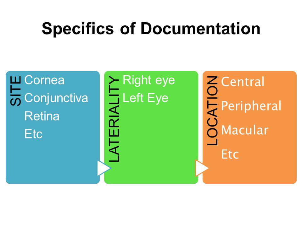 Specifics of Documentation SITE Cornea Conjunctiva Retina Etc LATERIALITY Right eye Left Eye LOCATION Central Peripheral Macular Etc