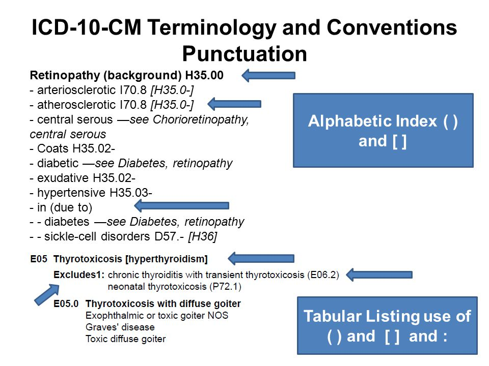ICD-10-CM Terminology and Conventions Punctuation Retinopathy (background) H35.00 - arteriosclerotic I70.8 [H35.0-] - atherosclerotic I70.8 [H35.0-] -