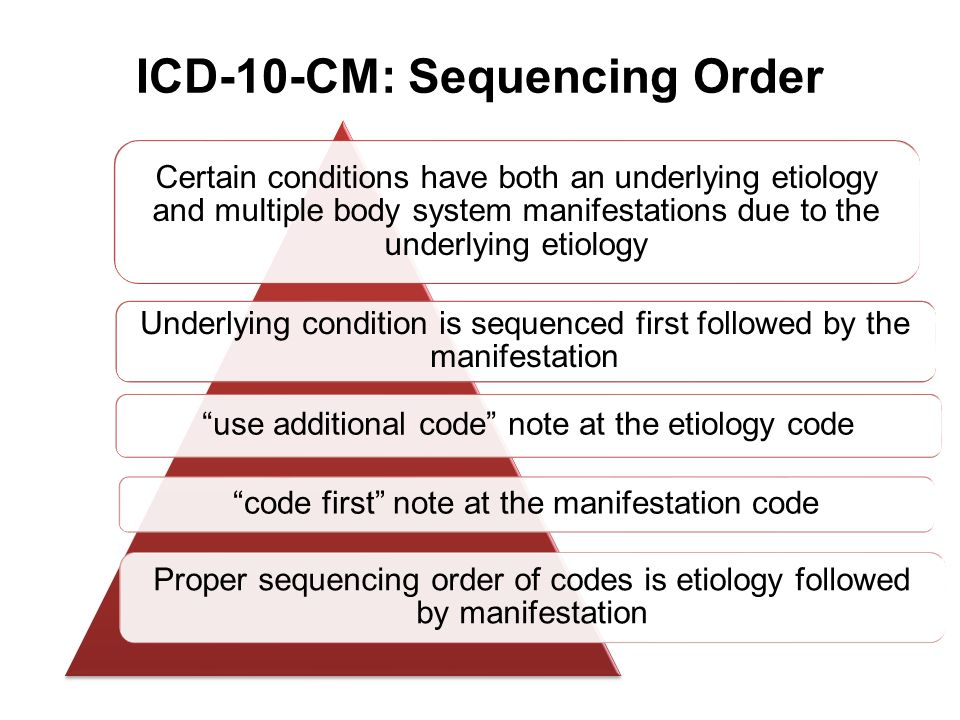 ICD-10-CM: Sequencing Order Certain conditions have both an underlying etiology and multiple body system manifestations due to the underlying etiology
