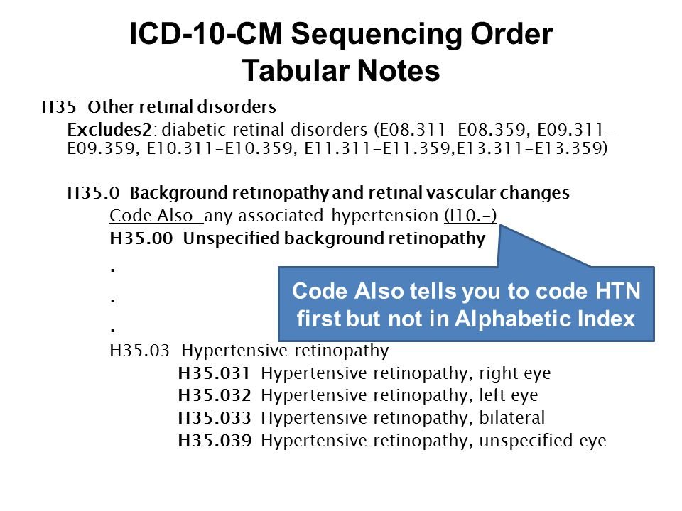 ICD-10-CM Sequencing Order Tabular Notes H35 Other retinal disorders Excludes2: diabetic retinal disorders (E08.311-E08.359, E09.311- E09.359, E10.311