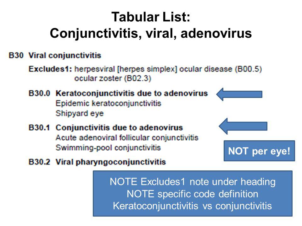 Tabular List: Conjunctivitis, viral, adenovirus NOTE Excludes1 note under heading NOTE specific code definition Keratoconjunctivitis vs conjunctivitis