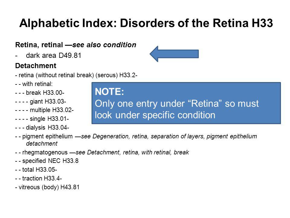 Alphabetic Index: Disorders of the Retina H33 Retina, retinal —see also condition -dark area D49.81 Detachment - retina (without retinal break) (serou