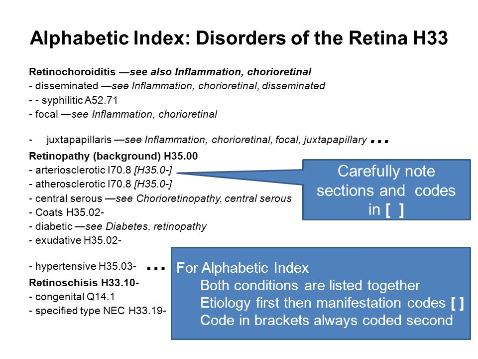 Alphabetic Index: Disorders of the Retina H33 Retinochoroiditis —see also Inflammation, chorioretinal - disseminated —see Inflammation, chorioretinal,
