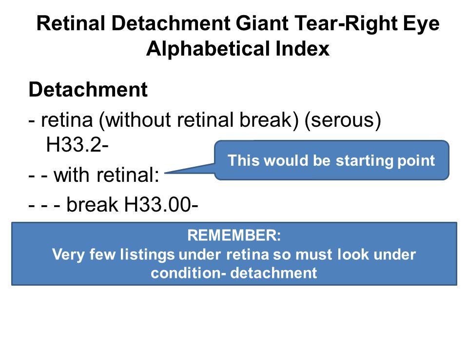 Retinal Detachment Giant Tear-Right Eye Alphabetical Index Detachment - retina (without retinal break) (serous) H33.2- - - with retinal: - - - break H