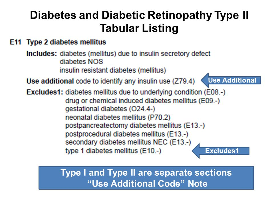 """Diabetes and Diabetic Retinopathy Type II Tabular Listing Type I and Type II are separate sections """"Use Additional Code"""" Note Excludes1 Use Additional"""