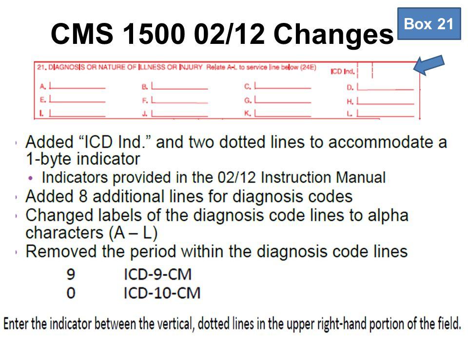 CMS 1500 02/12 Changes Box 21
