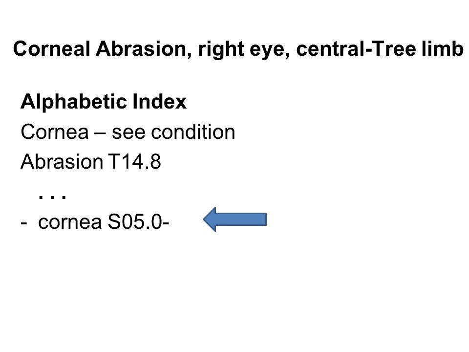 Corneal Abrasion, right eye, central-Tree limb Alphabetic Index Cornea – see condition Abrasion T14.8... -cornea S05.0-