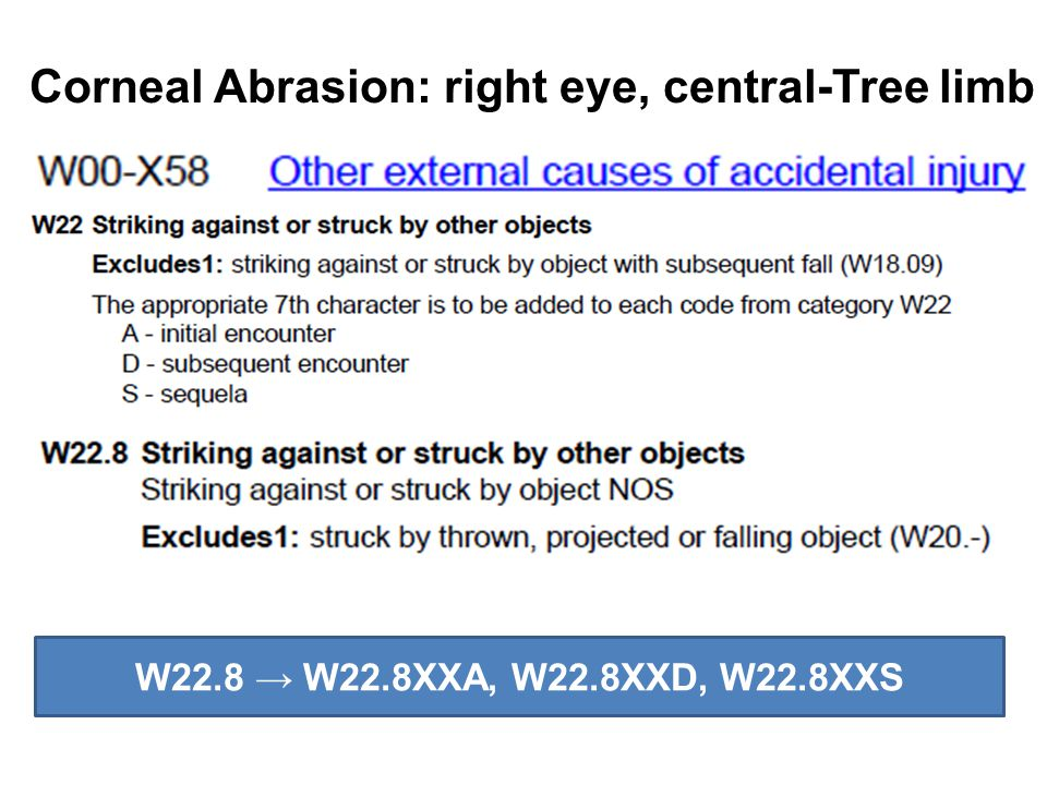 Corneal Abrasion: right eye, central-Tree limb W22.8 → W22.8XXA, W22.8XXD, W22.8XXS