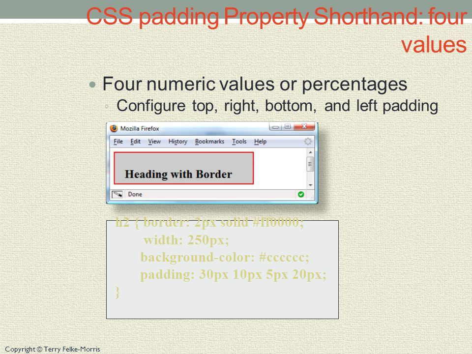 Copyright © Terry Felke-Morris CSS padding Property Shorthand: four values Four numeric values or percentages ◦ Configure top, right, bottom, and left padding h2 { border: 2px solid #ff0000; width: 250px; background-color: #cccccc; padding: 30px 10px 5px 20px; }