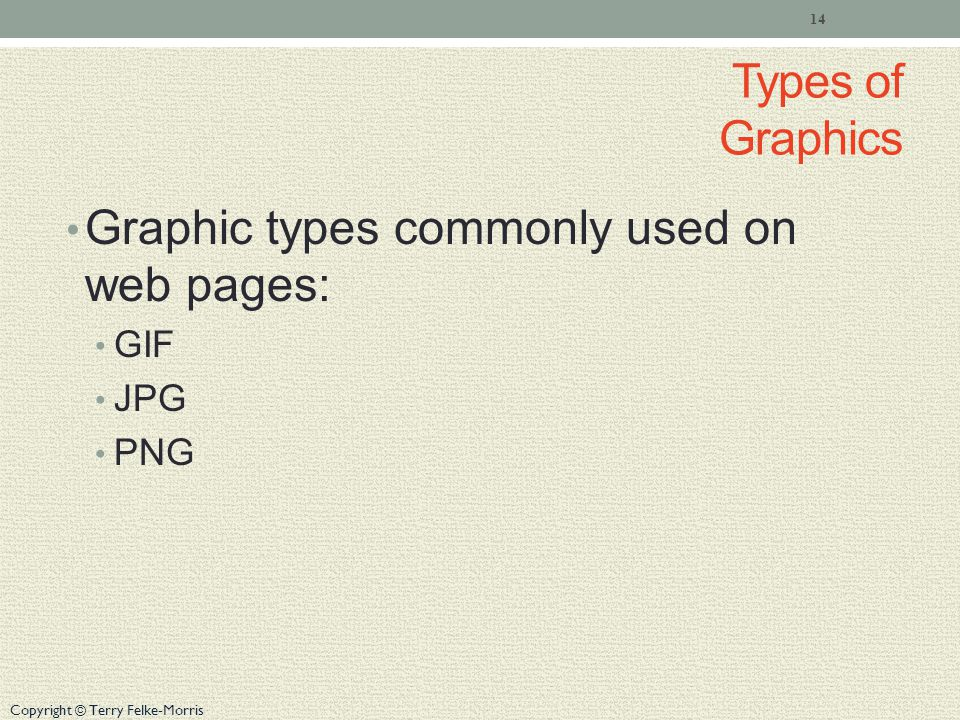 Copyright © Terry Felke-Morris Types of Graphics Graphic types commonly used on web pages: GIF JPG PNG 14