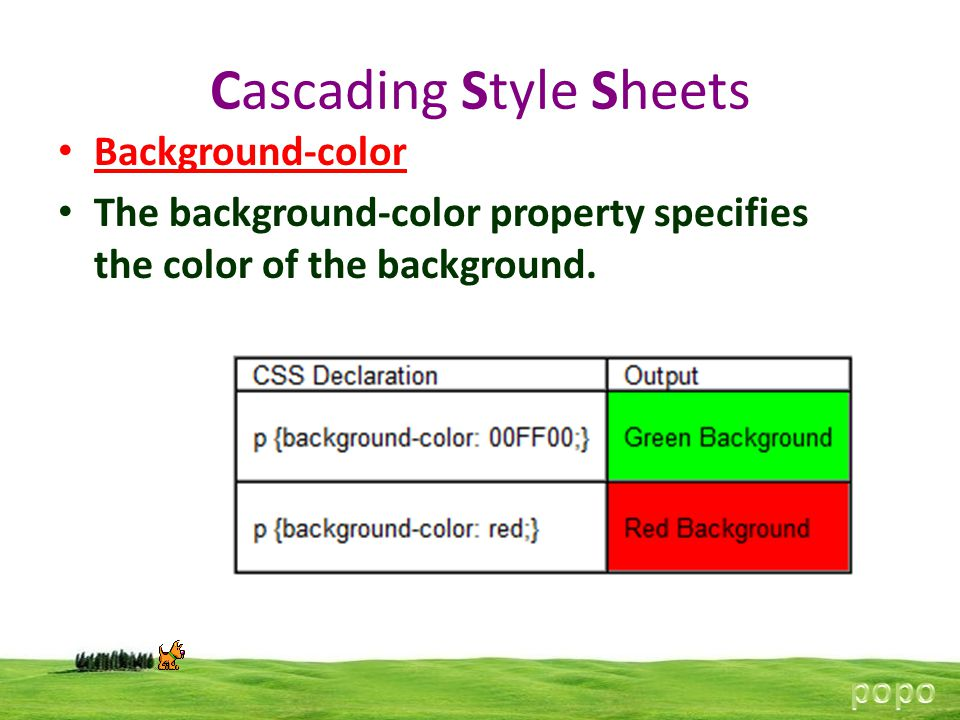 Cascading Style Sheets Background-color The background-color property specifies the color of the background.