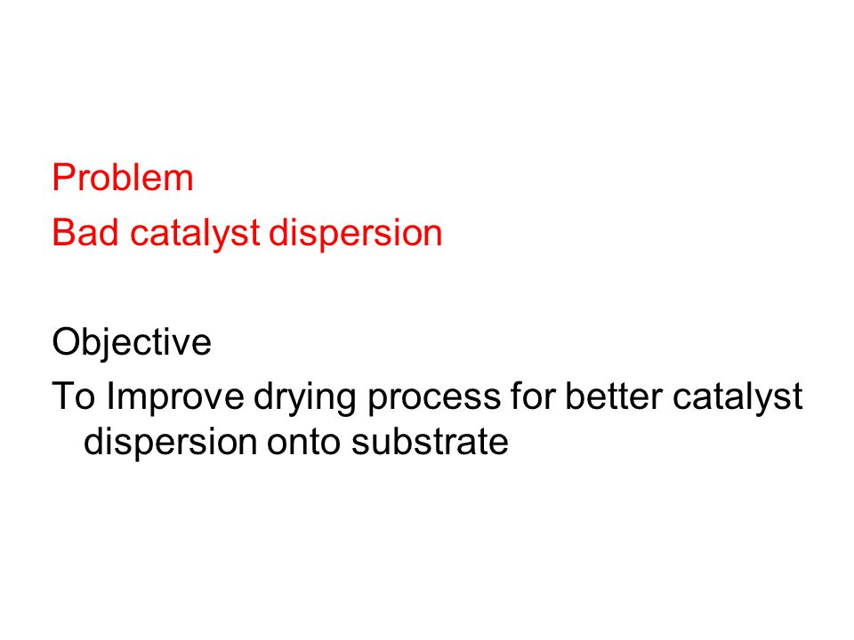Problem Bad catalyst dispersion Objective To Improve drying process for better catalyst dispersion onto substrate