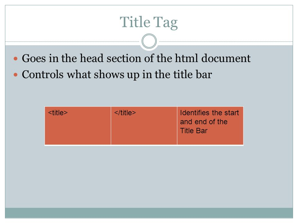 Title Tag Goes in the head section of the html document Controls what shows up in the title bar Identifies the start and end of the Title Bar