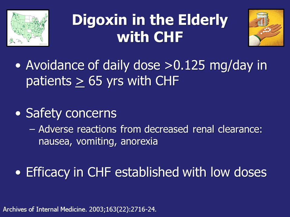 Digoxin in the Elderly with CHF Avoidance of daily dose >0.125 mg/day in patients > 65 yrs with CHFAvoidance of daily dose >0.125 mg/day in patients > 65 yrs with CHF Safety concernsSafety concerns –Adverse reactions from decreased renal clearance: nausea, vomiting, anorexia Efficacy in CHF established with low dosesEfficacy in CHF established with low doses Archives of Internal Medicine.