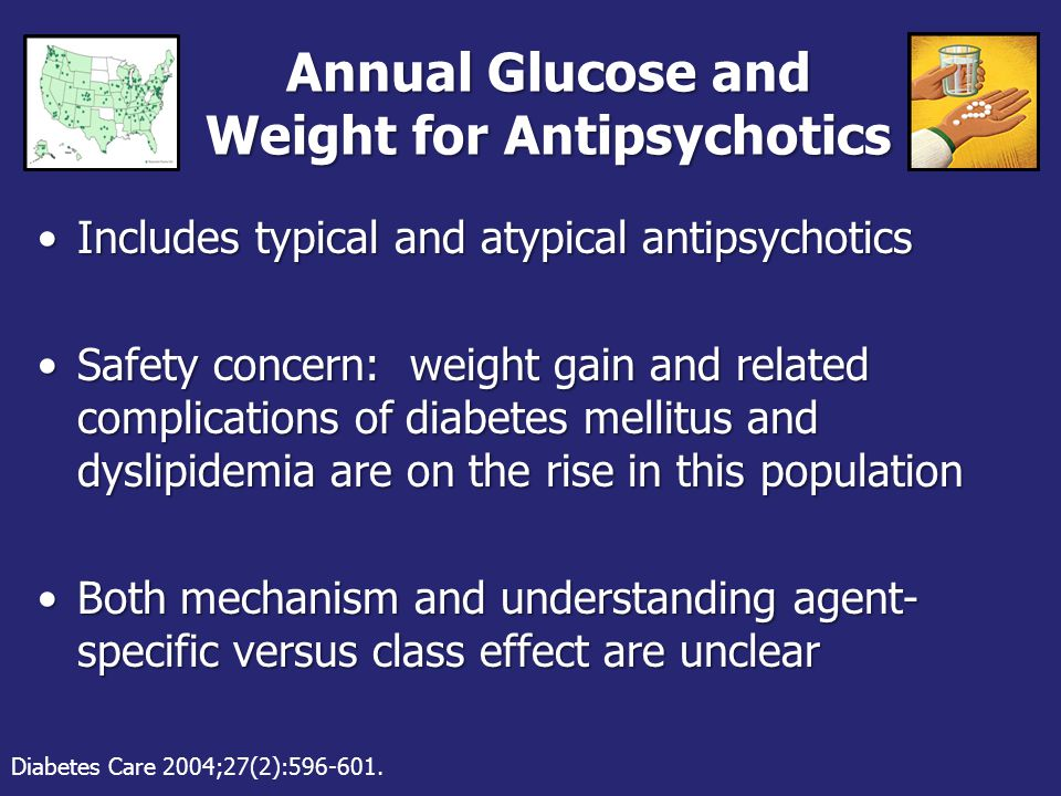 Annual Glucose and Weight for Antipsychotics Includes typical and atypical antipsychoticsIncludes typical and atypical antipsychotics Safety concern: weight gain and related complications of diabetes mellitus and dyslipidemia are on the rise in this populationSafety concern: weight gain and related complications of diabetes mellitus and dyslipidemia are on the rise in this population Both mechanism and understanding agent- specific versus class effect are unclearBoth mechanism and understanding agent- specific versus class effect are unclear Diabetes Care 2004;27(2):596-601.