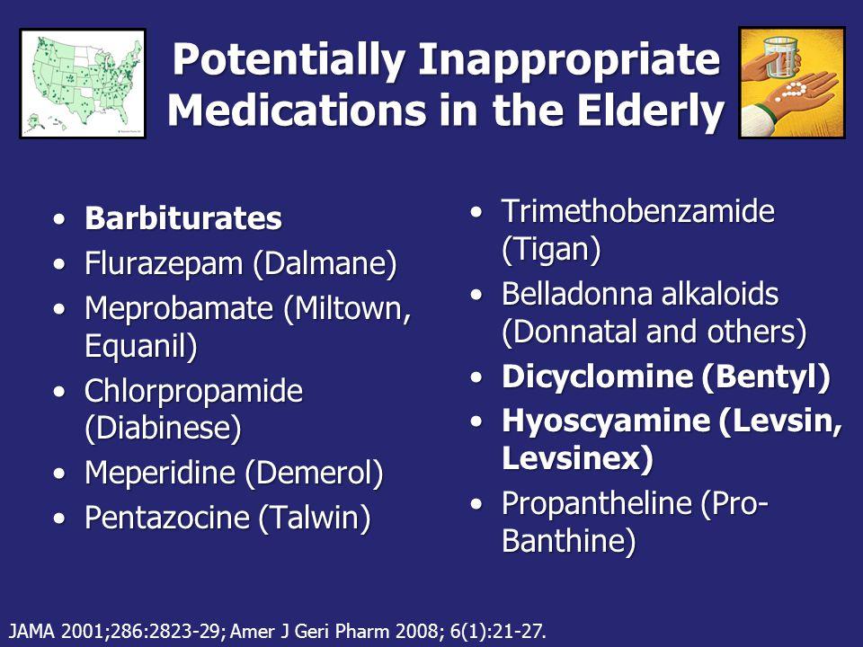 Rarely Appropriate Medications in the Elderly Chlordiazopoxide (Librium)Chlordiazopoxide (Librium) Diazepam (Valium)Diazepam (Valium) Propoxyphene (Darvocet)Propoxyphene (Darvocet) Carisoprodol (Soma)Carisoprodol (Soma) Chlorzoxazone (Paraflex)Chlorzoxazone (Paraflex) Cyclobenzaprine (Flexeril)Cyclobenzaprine (Flexeril) Metaxalone (Skelaxin)Metaxalone (Skelaxin) Methocarbamol (Robaxin)Methocarbamol (Robaxin) JAMA 2001;286:2823-29; Amer J Geri Pharm 2008; 6(1):21-27.