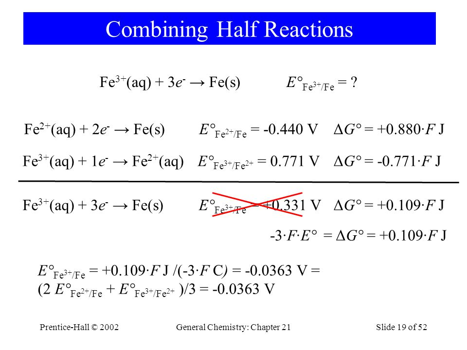 ΔG° = +0.109·F J -3·F·E° = ΔG° = +0.109·F J Prentice-Hall © 2002General Chemistry: Chapter 21Slide 19 of 52 Combining Half Reactions Fe 3+ (aq) + 3e -