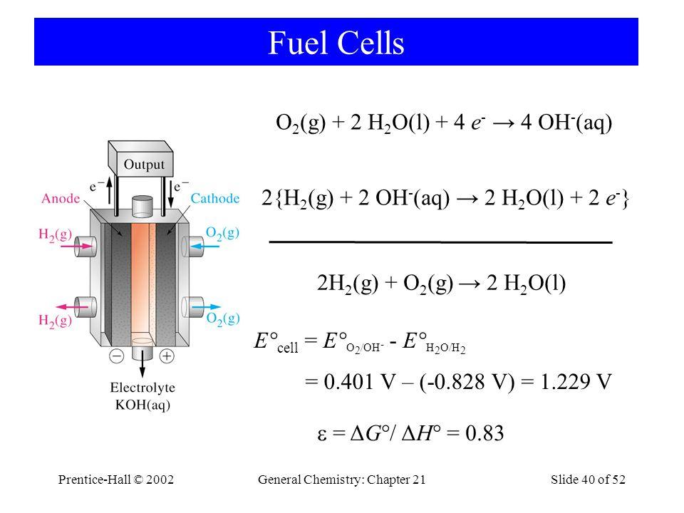Prentice-Hall © 2002General Chemistry: Chapter 21Slide 40 of 52 Fuel Cells O 2 (g) + 2 H 2 O(l) + 4 e - → 4 OH - (aq) 2{H 2 (g) + 2 OH - (aq) → 2 H 2