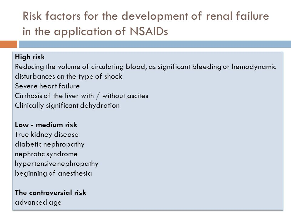 Risk factors for the development of renal failure in the application of NSAIDs