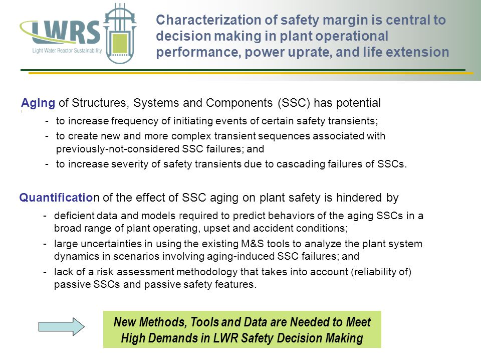 Characterization of safety margin is central to decision making in plant operational performance, power uprate, and life extension Aging of Structures, Systems and Components (SSC) has potential \ -to increase frequency of initiating events of certain safety transients; -to create new and more complex transient sequences associated with previously-not-considered SSC failures; and -to increase severity of safety transients due to cascading failures of SSCs.