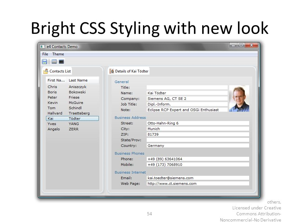 Bright CSS Styling with new look 54 © Kai Tödter and others, Licensed under Creative Commons Attribution- Noncommercial-No Derivative Works 3.0 German