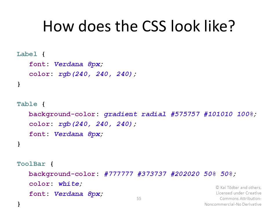 How does the CSS look like? Label { font: Verdana 8px; color: rgb(240, 240, 240); } Table { background-color: gradient radial #575757 #101010 100%; co