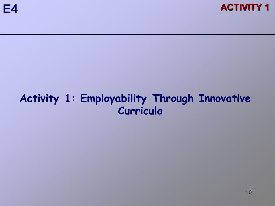 10 Activity 1: Employability Through Innovative Curricula E4 ACTIVITY 1