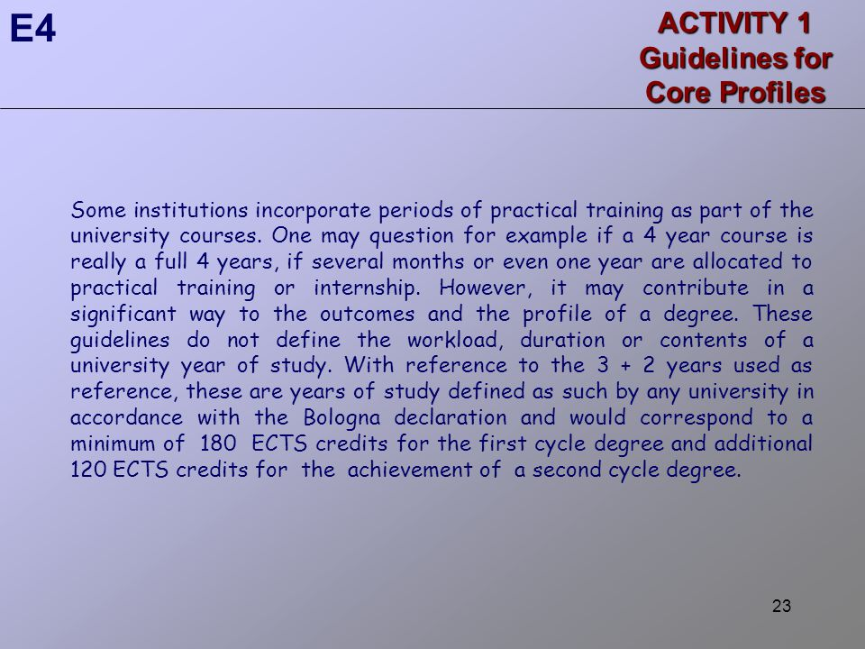 23 ACTIVITY 1 Guidelines for Core Profiles Some institutions incorporate periods of practical training as part of the university courses.