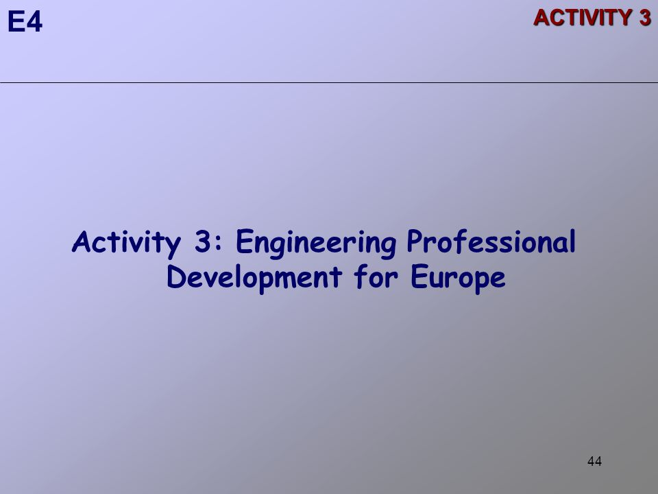 44 ACTIVITY 3 Activity 3: Engineering Professional Development for Europe E4