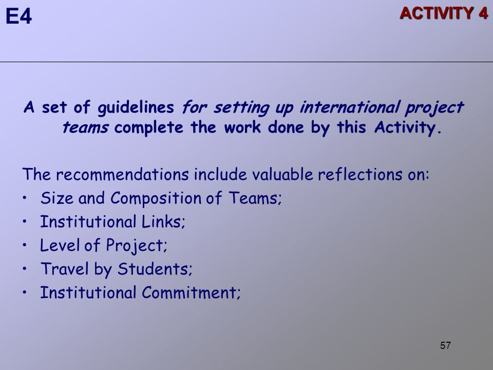 57 ACTIVITY 4 A set of guidelines for setting up international project teams complete the work done by this Activity.