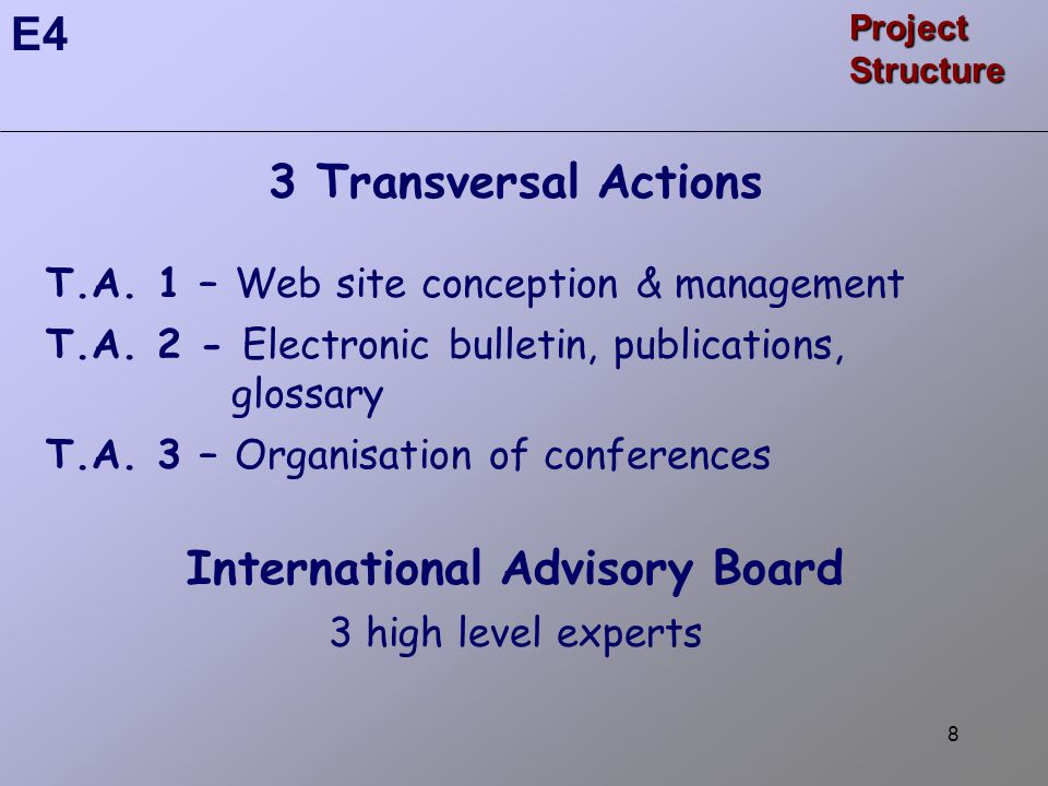8 3 Transversal Actions T.A. 1 – Web site conception & management T.A.