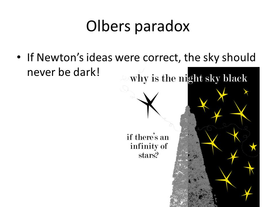 Olbers paradox If Newton's ideas were correct, the sky should never be dark!
