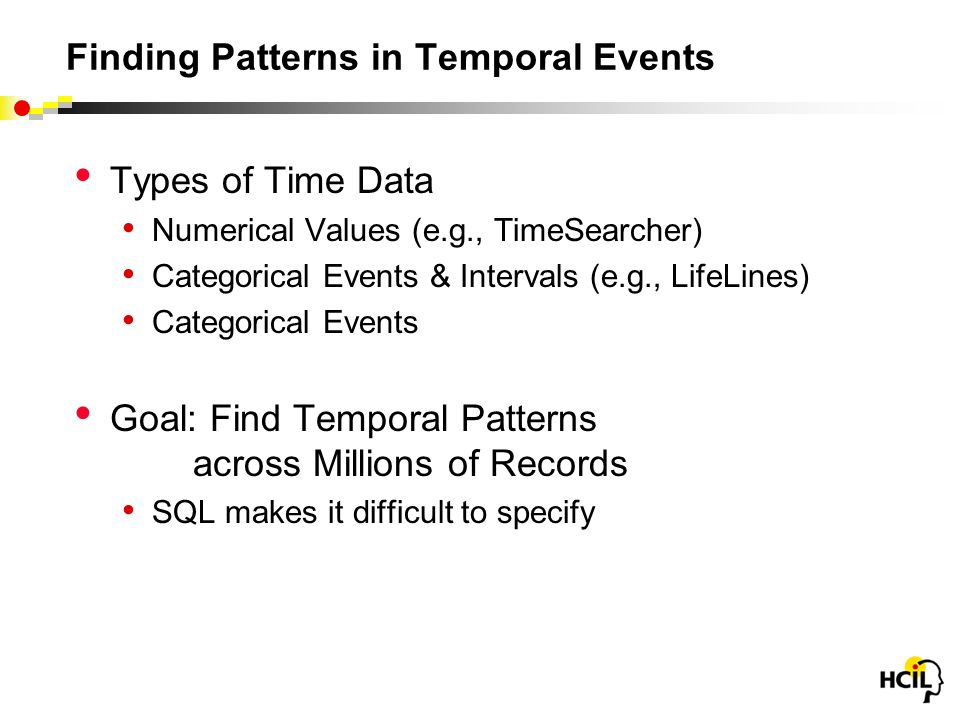 Finding Patterns in Temporal Events Types of Time Data Numerical Values (e.g., TimeSearcher) Categorical Events & Intervals (e.g., LifeLines) Categorical Events Goal: Find Temporal Patterns across Millions of Records SQL makes it difficult to specify